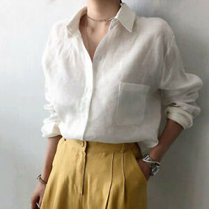Women Long sleeve Shirt Collared Button Loose Casual Linen Cotton Blouse