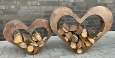 Herz aus Metall, Holz-Regal, Edel-Rost, Garten Terrasse, Deko-Set Größe S und M