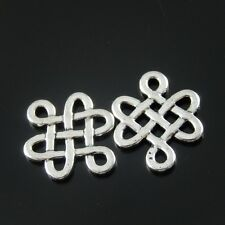 16pcs Antique Silver Alloy Chinese Knot Pendant Lucky Knot Charm 17*15mm 33399