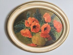 """Antique Oil Painting """"Poppies"""" By Artist Max Theodor Streckenbach 1863 - 1936"""