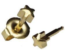 6 Pairs STUDEX Piercing Earrings STAR shape 3mm Gold