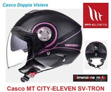 Casco Jet Doppia Visiera MT CITY-ELEVEN SV-TRON Matt Black/Fushia Taglia L 59/60