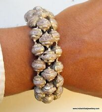 vintage antique collectible tribal old silver beads bracelet bangle rajasthan in