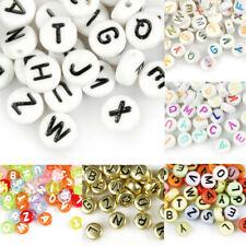 70pcs Acrylic Alphabet Letter Beads Flat Round Jewellery Making 7x7mm DIY