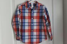 Boy Size 5 Janie and Jack Dress Button Down Long Sleeve Shirt Blue-Orange Check
