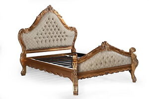 Carved Statement Large Antique Gold Louis Copper French Ornate King Size Bed