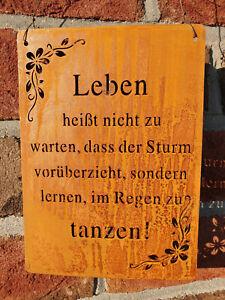 Edelrost Schild Tafel Spruch Garten Deko Leben tanzen