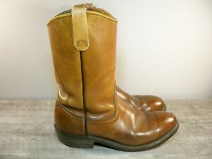 Red Wing Brown Leather Work Biker Boots Pull On Vintage 80s US Made Men's 8 D