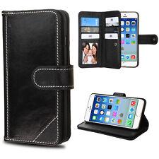 Apple iPhone 6 6S Black Genuine Leather D'Lux Wallet Flip Cover Case