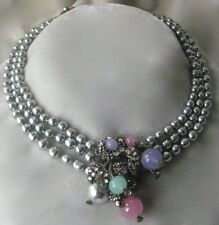 MIRIAM HASKELL 3 Strand Baroque Pearls Glass & Rhinestone Centerpiece Necklace