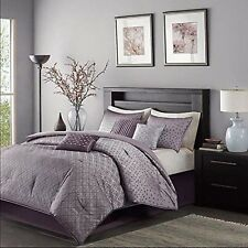 Madison Park Biloxi Queen Size Bed Comforter Set Bed in A Bag - Purple, Geome.