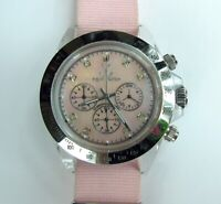 ToyWatch Chrono Pink MOP Silver Watch with Pink Strap -- ret $250