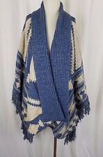 LRL Ralph Lauren Indigo Blue Wool Linen Knit Wrap Cape Stadium Blanket Womens XL