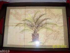 Palm Tree   Decorative Green Ceramic Tile Tray Cherry Wood Frame 20 x 13