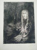Belle gravure symboliste Rêverie signée et numérotée Rêve & cauchemar