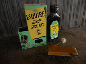 Vintage Esquire Suede Shoe Kit Black for decor General Store Decor