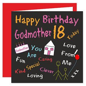 Godmother Happy Birthday Card - Age Range 18 - 60 Years - Black Board Design