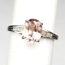 MORGANITE PINK PEACH OVAL 2.30 CT. 925 STERLING SILVER RING SIZE 6.75 WEDDING