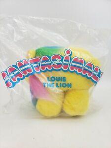 AVON FANTASIMALS LOUIS LION YELLOW RAINBOW MANE PLUSH 1987 - VINTAGE - NOS