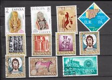 SPAIN CARD OF 11; 4 SETS + 2 ODDS MINT AND USED; 1970's SOUND STAMPS.