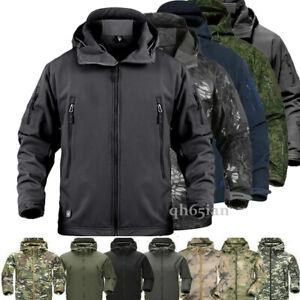 Men's Military Camo Fleece Jacket Army Tactical Hiking Sharkskin Jacket Trench