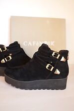 Womens Ankle Boots Leather Wedge From Italy Chelsea Platform Rubber Sole S 6