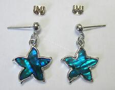 New Stud Earrings Silver Tone & Teal Blue Paua Shell Star Shape Fashion Earring