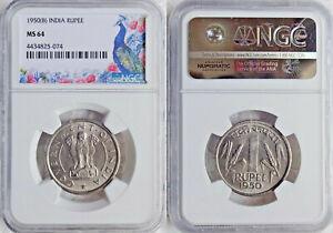 Republic India 1950 Cupro-Nickel Rupee Bombay Mint KM #7.1 NGC GRADED MS 64