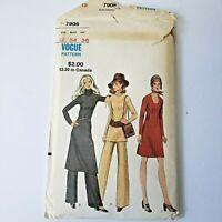Vintage Vogue Pattern 7906 Misses Sweater Dress & Pants 12 Bust 34 Uncut FF 1970