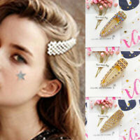 Women Pearl Hollow Out Hairpin Snap Barrette Jewelry Crystal Hair Clip Accessory
