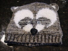 NEW GRAY & WHITE RACOON BEANIE KNIT HAT CAP Teen size Claire's