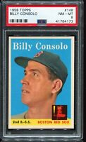 1958 Topps Baseball #148 BILLY CONSOLO Boston Red Sox PSA 8 NM-MT