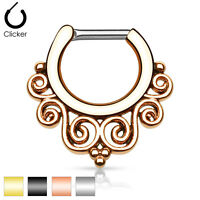 Tribal Swirls IP Surgical Steel Septum Ring Clicker Nose Piercing 16G