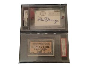 PSA Red Grange autograph and Ohio State Last Game Ticket Stub