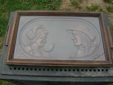 vintage french wooden serving tray carved  breton man and woman glass top