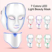7 Color LED Light Photon Face&Neck Mask Skin Rejuvenation Facial Therapy Wrinkle