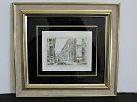 """Milano Palazzo di Brera "" - Vintage HAND COLORED Original Art Print-Framed."