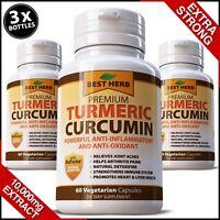 180 X ORGANIC HIGH STRENGTH CAPSULES TURMERIC BLACK PEPPER CURCUMIN 95% TUMERIC