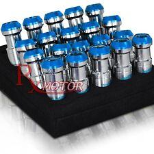 M12 X 1.5MM FORMULA DRIFT STYLE ALUMINUM TUNER LUG NUTS CHROME BLUE 20 PIECES