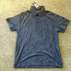 Mens Under Armour Knitted Navy Blue Camo polo shirt XLarge Jacquard (1350217)