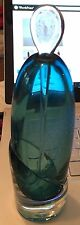 Ed Branson signed leaded Art Glass Perfume Bottle with stopper teal blue