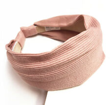 New Women Cotton Headband Classic Headdress Buckle Wide Hair Band Hairpin Pink