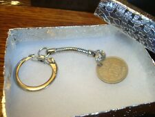 1947 UK British LUCKY Sixpence key chain Snake style Silver Tone W/Box