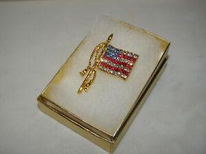 USA FLAG LAPEL PIN DEMOCRAT REPUBLICAN 4TH JULY ELECTION AUSTRIAN CRYSTAL NEW!