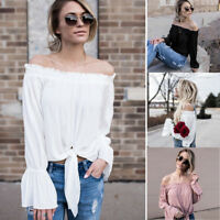 Summer Fashion Women Long Sleeve Off The Shoulder Casual Blouse Top T Shirt