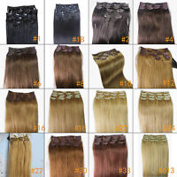 "7pcs 15"" 20"" 22"" Clip In Remy Real 100% Human Hair Extensions Full Head 75gr"