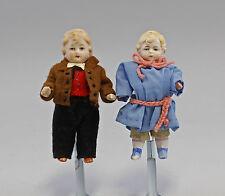 2 antike Ganz-Bisquit-Porzellan-Puppenstuben-Puppen um 1900 bekleidet 99810002