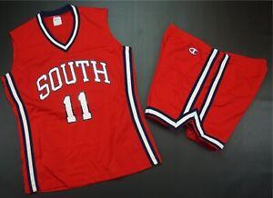 Rare VTG LADY CHAMPION South #11 Basketball Jersey Shorts Uniform 90s Red 10/14
