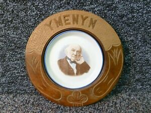 Y Menyn Welsh carved butter dish with David Lloyd George Pottery Portrait Centre