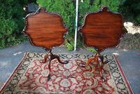 1920s English Chippendale Mahogany Tilt Top Tables / Side Tables / End Tables